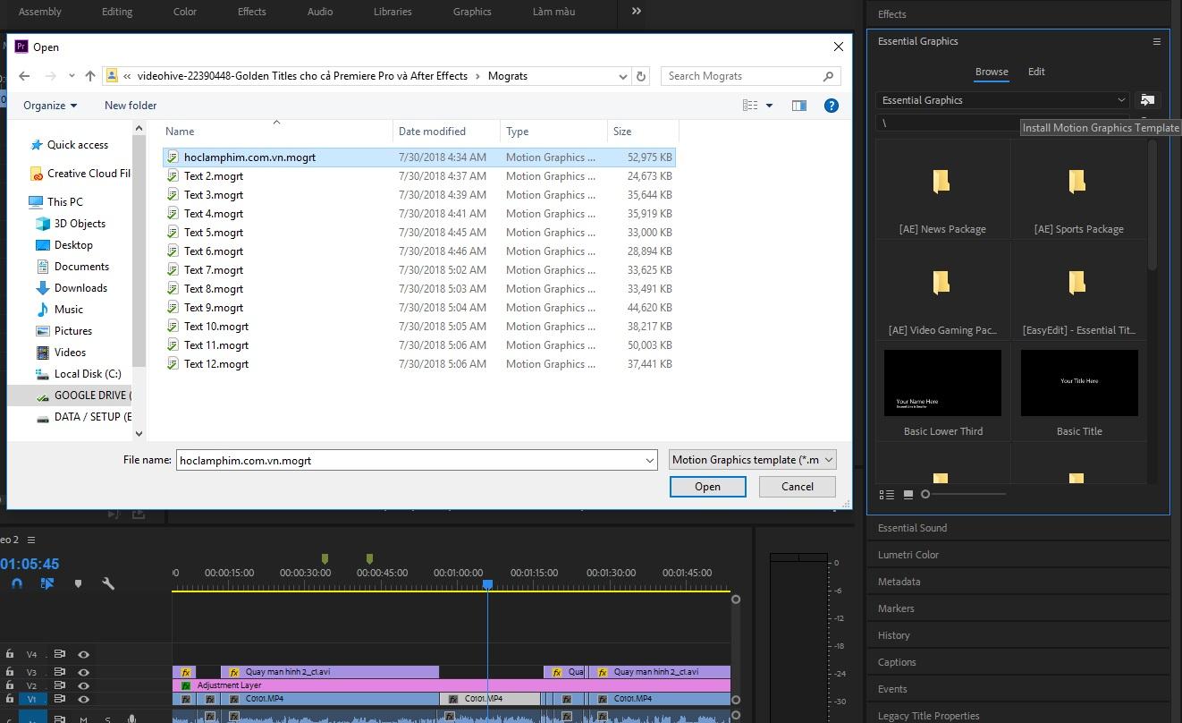 Cài đặt file morgt và sử dụng Essential Graphics trong Premiere Pro như thế nào? 21